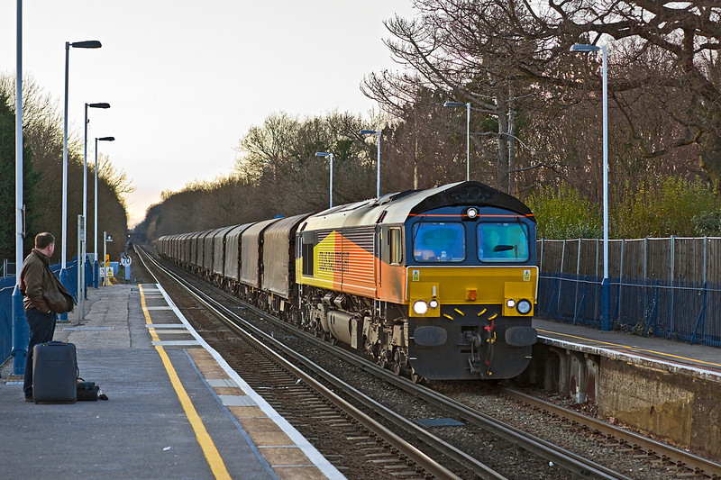 19th Feb 12:   Diverted away from The Great Western Main Line is 66847 working loaded steel from Margam to Dollands Moor.  Captured running through Sunningdale