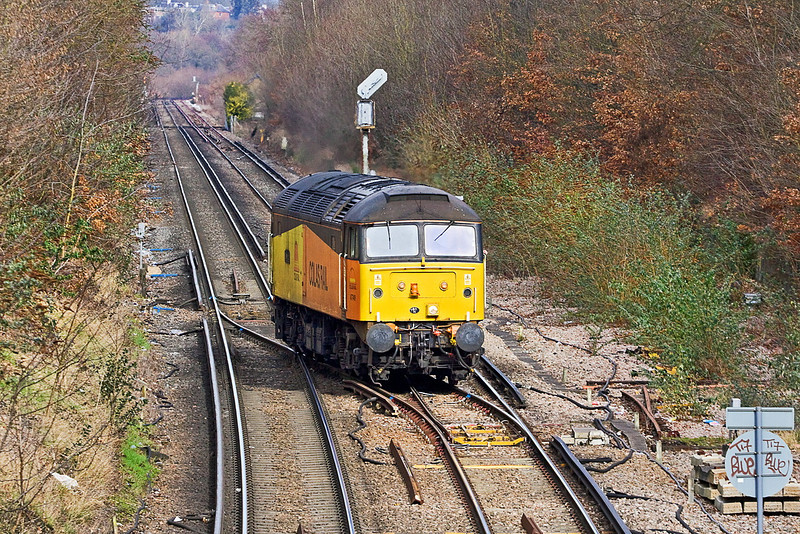 21st Feb 12:  Having arrived from Eastleigh 47749 is setting back over the trailing crossover at Virginia Water to gain access to the Chertsey line.  0Z33  is a route learning trip to Redhiill
