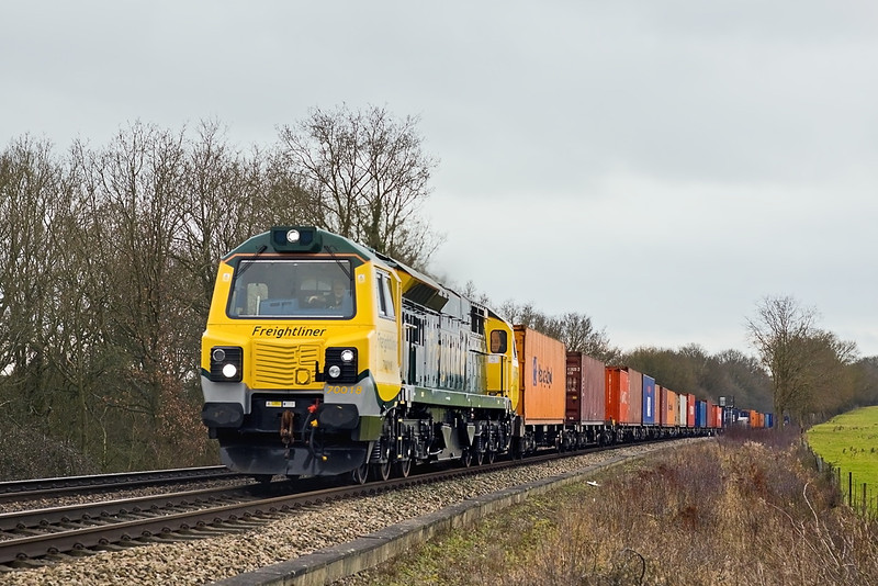 17th Feb 12:  Returning north after it's first trip to Southampton is 70018 on the point of 4M68 to Birch Coppice.  Seen here passing through Grazeley
