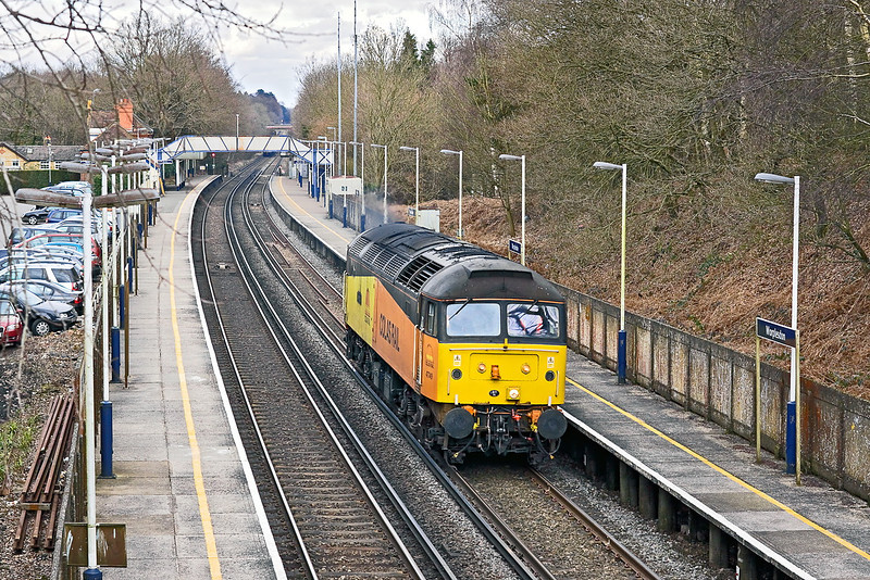 21st Feb 12:  Now running as 0Z34 Colas Rail  47749 trundles south through Worplesdon making the day's second route learning trip between Woking and Redhill