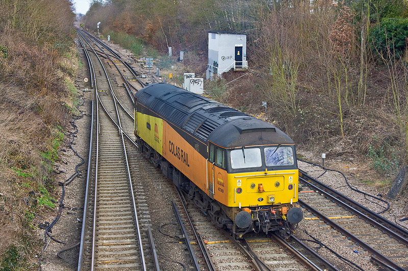 21st Feb 12:  Colas Rail 47749 arrives at Virginia Water on 0Z33 a route learner from Eastleigh.  It will reverse over the crossover and head back to Redhill