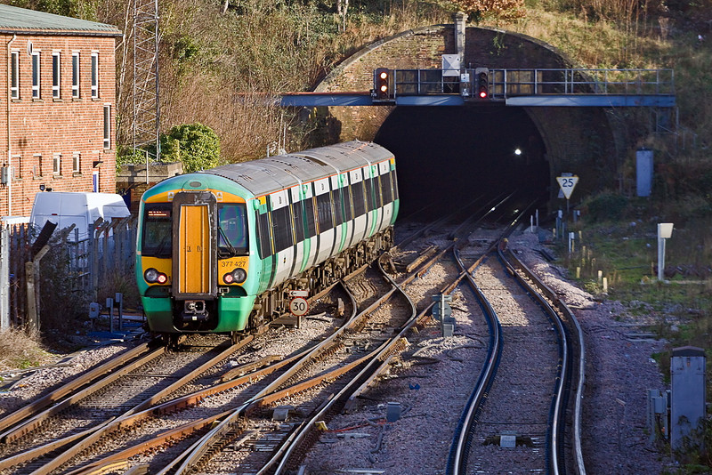 12th Jan 12:  Entering Southampton tunnel is the 13.33 to Brighton in the hands of 377427.