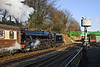 15th Jan 12:  45379 starts from Ropley and will shortly pass under the newly erected spans from the Kings Cross footbridge