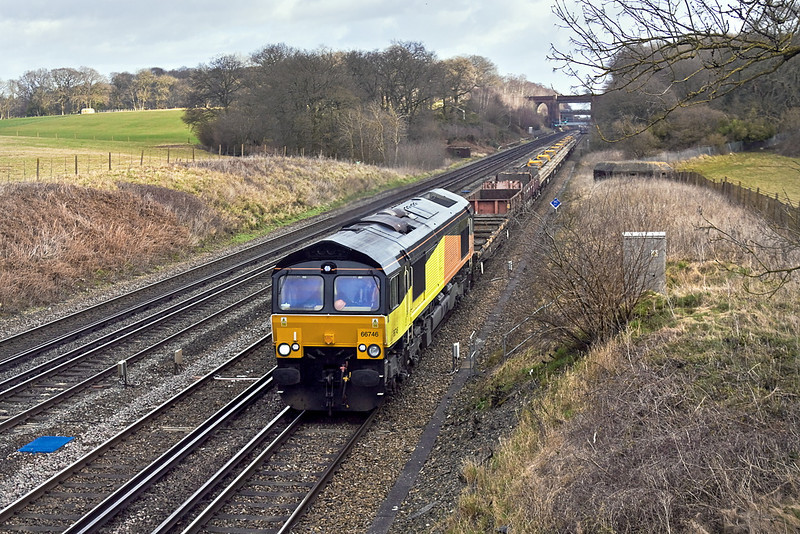 22nd Jan 12:  Just missing the sun at Totters Lane is 66746 on the point of 6G15 from Balham Junction to Eastleigh