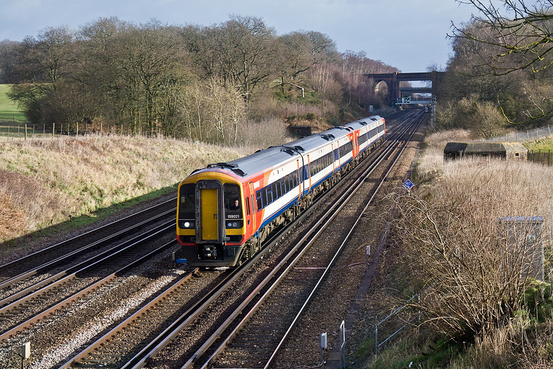 22nd Jan 12:  159021 & 159107 are pictured from the bridge on Totters Lane between Winchfield and Hook. 1L29 is the 11.15 from Waterloo to Exeter