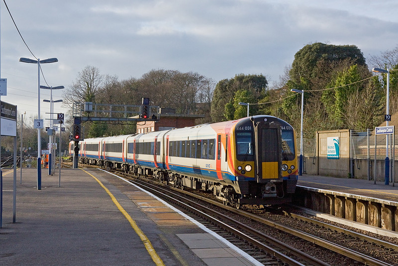 12th Jan 12:  the 13.03 from Weymouth to Waterloo enters Southampton.  444031 will get to Waterloo at 15.49