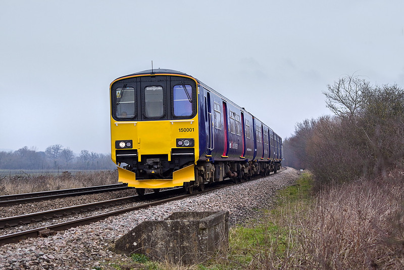 31st Jan 12:  150001 now heads south with the 13.07 from Reading to Basingstoke
