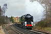 20th Jan 12:  On not the nicest of days 35028 accelerates the VSOE Surrey Hills Luncheon Special towards the crossing in Prune Hill in Egham