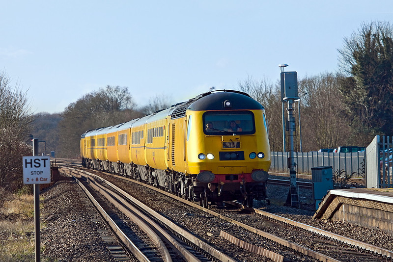 17th Jan 12:  The Network Measurement Train races through Twyford towards London with the Plymouth to Old Oak Common leg of the day's itinerary