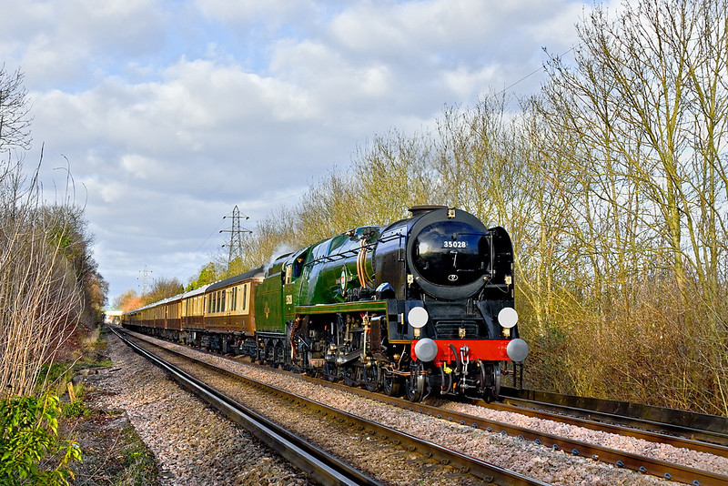 7th Jan 12:  Running again as 35028 Clan Line the Southern Railway's Merchant Navy Class Pacific nears Guildford with the VSOE Surrey Hills Luncheon Special from Victoria