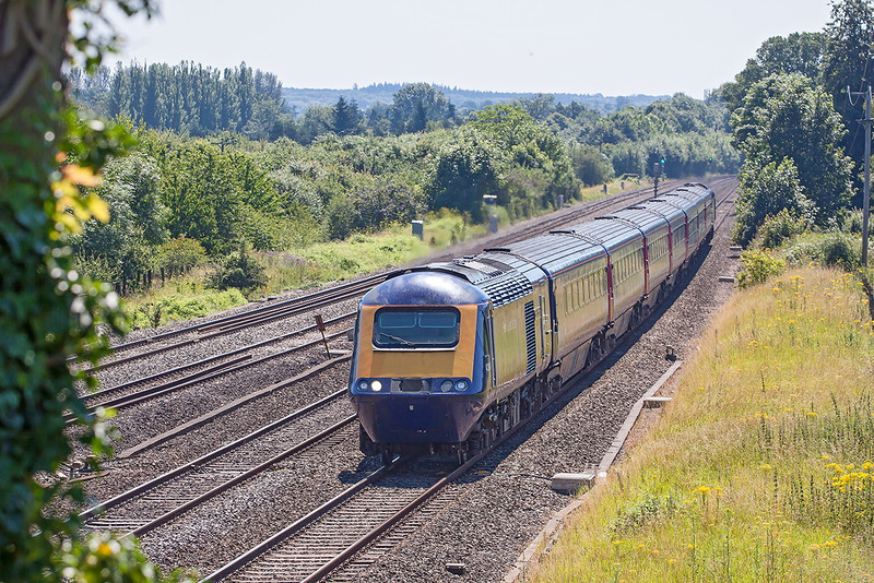 24th Jul 12:  A tree having been removed this view is now possible at Lower Basildon.  43034 leads on the 11.00 to Bristol Temple Meads