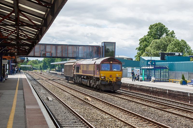 19th Jul 12:  With a very light load 66131 trundles north through Oxford with 6A49 the MoD stores working from Didcot to Bicester