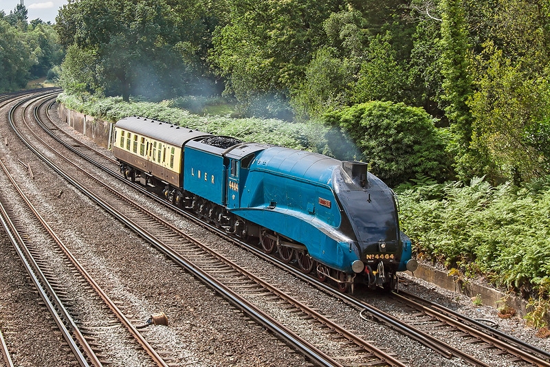 28th Jul 12:  Captured here rounding the curve at Pirbright is LNER A4 Pacific 4494 'Bittern' working as 5Z96 from Weymouth to Southall.  The loco should have headed the return Dorset Coast Express last Thursday but regretably had failed, with injector trouble, at Upwey shortly after departure.
