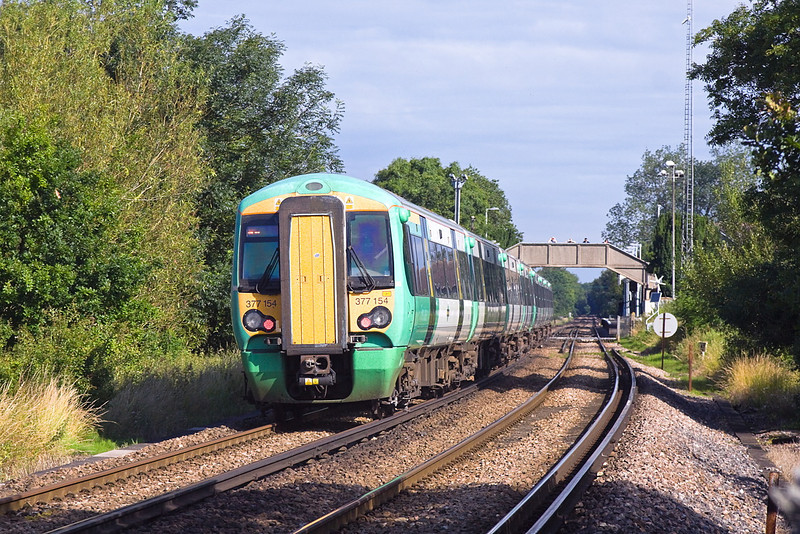 5th Jul 12:  377154 on the rear of the 07.38 from Hastings to Victoria started from Seaford as 1F11 the 08.21 departure and joined on at Lewes