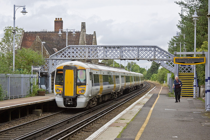 4th Jul 12:  South Eastern's 375830 calls at Battle on 1H88 the 12.50 Hastings to Charing Cross