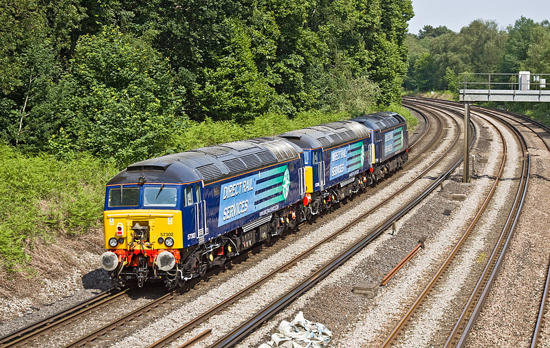 20th Jun 12: DRS 57002 hauls newly reliveried 57304 & 57302 through Pirbright on their way from Easteligh to Willesden