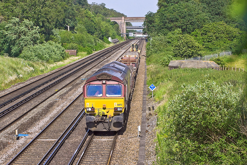 28th Jun 12:  66172 trundles along the Slow Line between Winchfield and Hook with the afternoon departmental from Hoo Junction to Eastleigh
