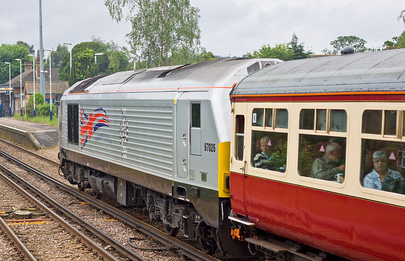 7th Jun 12:  67026 on the rear of 'The Cathedrals Express' from Arlesford to Ely.  It was used to haul the ECS and Loco to the starting point and was detached nearer London