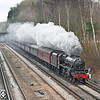 11th Mar 12:  Standing in for Tangmere is LMS Black 5  44932 working 1Z96 from Waterloo to Bristol via Salisbury.  Pictured here passing under the Basingstoke Canal at Frimley Green