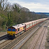 20th Mar 12:  Nearing Cholsey is 66077 leading on 6M48 the 10.34 from Southampton Eastern Docks to Halewood Jaguar plant