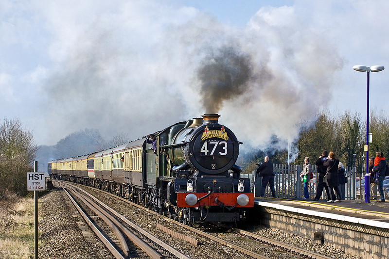3rd Mar 12:  Miraculously and contrary to the weather forecast the rain cleared away in time for the passing of 6024 'King Edward I' though Twyford.  It was a sight, sound and smell never to be forgotten.  What a shame about that bloody coach.