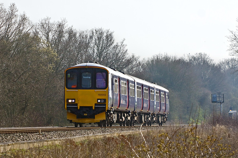 23rd Mar 12:  150112 is now working 2J40 the 14.39 from Basingstoke to Reading.  Pictured nearing Danes Crossing