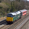20th Mar 12:  Nearing Cholsey is 31601 in charge of 5Z31 taking a Chiltern<br />  owned coach from Wembley to Barton Hill in Bristol