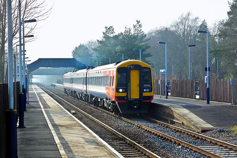 14th Mar 12:  As the sun breaks through the mist as  15905 leaves Grateley with 1L50 the 14.47 from Salisbury to Waterloo