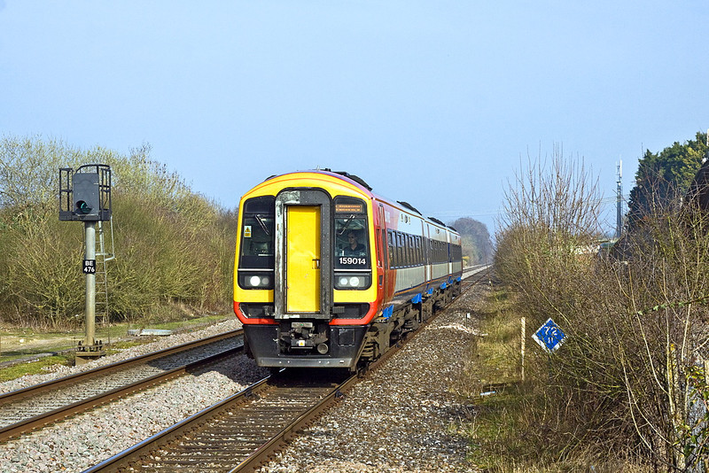 14th Mar 12:  the 13.50 from Waterloo to Gillingham arrives at Grateley formed of 159014