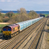 20th Mar 12:  66140 with empty WIA car carriers from Southampton Eastern Docks to Castle Bromwich passes Manor Farm in Cholsey