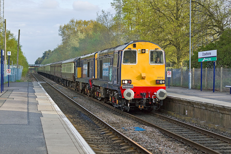 """5th May 12:   Very rare traction on this piece of line are a pair of 20s.      20312 & 20308 lead the Pathfinder Tours  """"The Hampshire Hotchpotch"""" from Crewe to the Southampton Eastern and Western Docks.  Captured here on the return leg as they pass though Crowthorne"""
