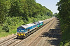 25th May 12:  59002 with 59001 DIT trundles 7C77 from Acton to Merehead through the Sonning Cutting