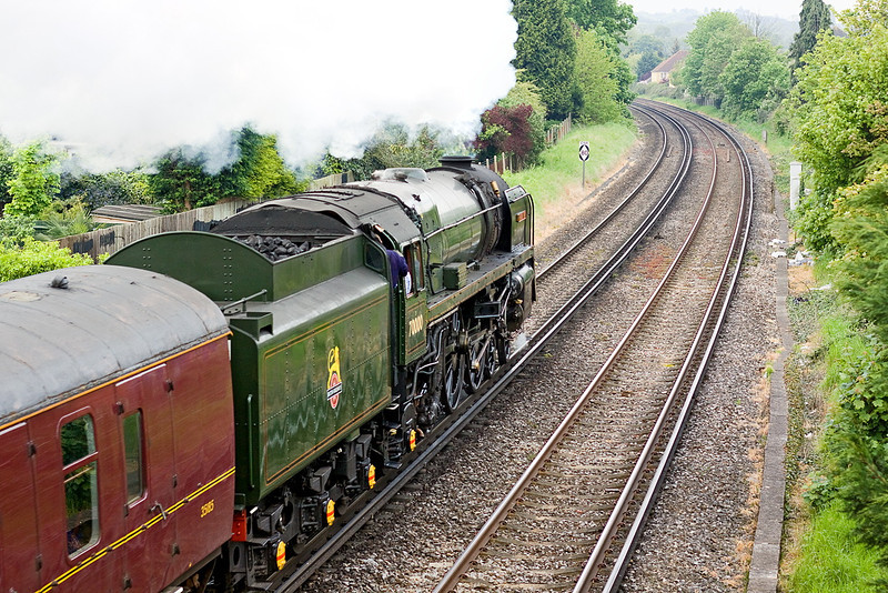 18th May 12:  70000 'Britannia' on the first leg of The Cathedrals Explorer excursion from Staines to Victoria via Tonbridge thunders away from Egham.  This is the start of an eight day tour of the country which will today end at Durham behind 60163 Tornado