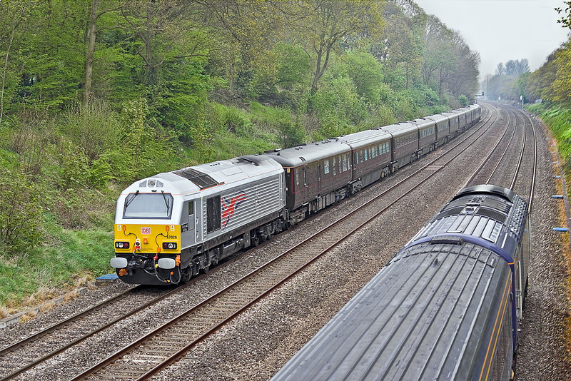 2nd May 12:  Returning from Yeovil is the Royal Train headed by 67006 with 67026 bringing up the rear.  Seen here in the Sonning Cutting