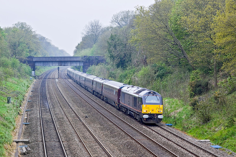 2nd May 12:  Running through the Sonning Cuttin is the Royal Train returning from Yeovil.  67006 is on the point with 67026 guarding the tail.