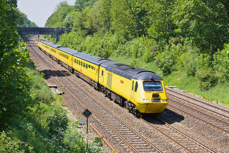 25th May 12:  The NMT hurries through the Sonning Cutting working from Plymouth to Paddington with 43062 'John Armitt' on the point.  4Q19 will next head back to Derby