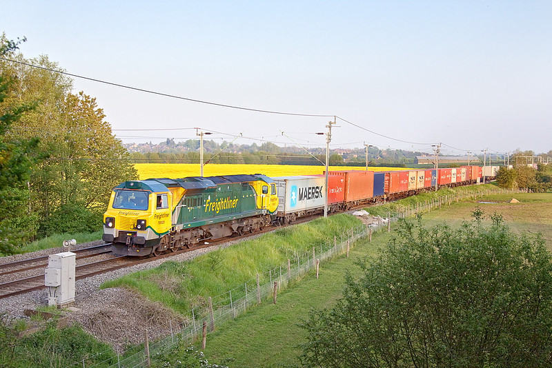 22nd May 12:  Running away from Long Buckby about 35 minutes  down  is 70020 on 4M93 Felixstowe to Lawley Street