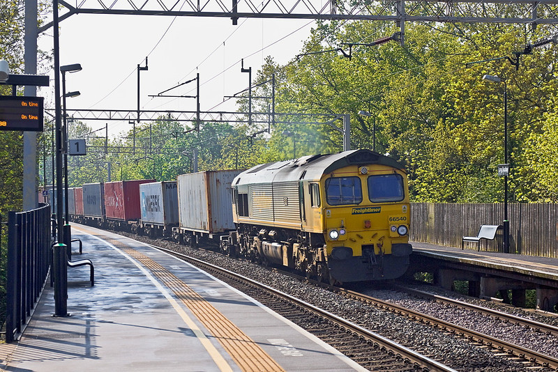 "22nd May 12:  Rounding the corner through Long Buckby is 66540 ""Ruby"" on the point of 4M45 from Felixstowe to Ditton"