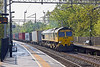 """22nd May 12:  Rounding the corner through Long Buckby is 66540 """"Ruby"""" on the point of 4M45 from Felixstowe to Ditton"""