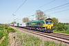 22nd May 12:  On the approach to the curve through Long Buckby 66501 heads  to the south on 4L75 from Daventry to Tilbury