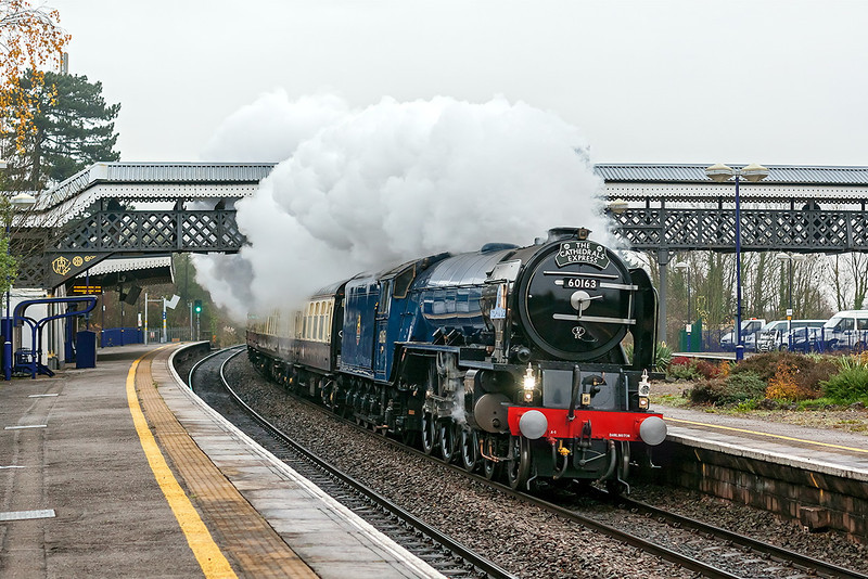 24th Nov 12:  Captured at Taplow is 60163 'Tornado',  on it's first run since being repainted into BR Blue, heading the Cathedrals Express from Paddington to Shrewsbury