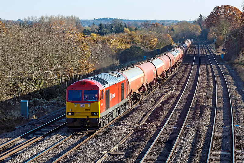 14th Nov 12:  In beautiful light, freshly refurbished 60010  heads west through Lower Basildon with the empty Murco tanks from Theale to Robeston