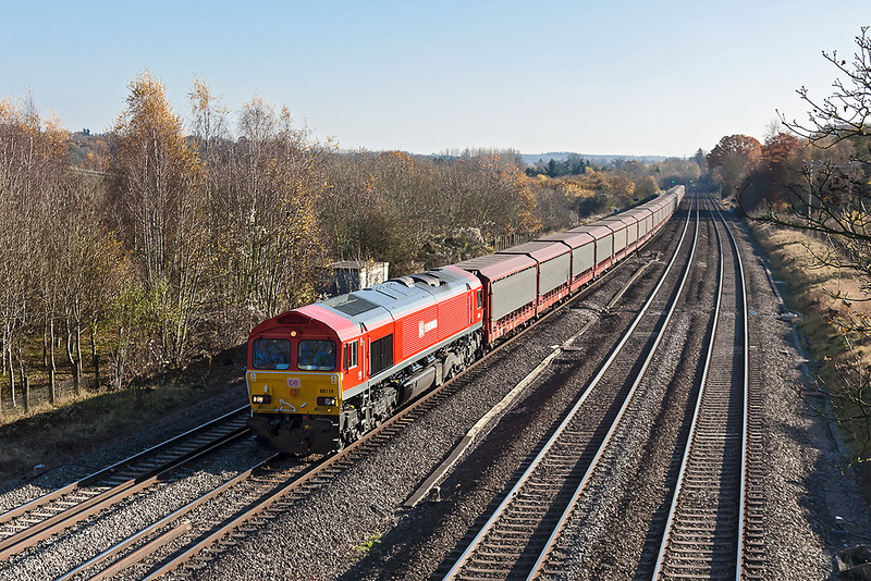 14th Nov 12:  66118 is tasked with 6M48 empty car carries from Southampton Eastern Docks to Halewood. Captured at Lower Basidon
