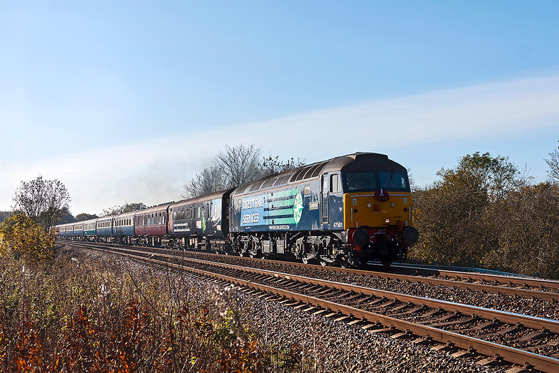 11th Nov 12: The Cruise Saver to Edinburgh T n T 47501+ 47802 are captured climbing away from Mortimer