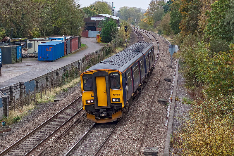 24th Oct 12:  150216 working to Great Malvern passes Coalpit Heath
