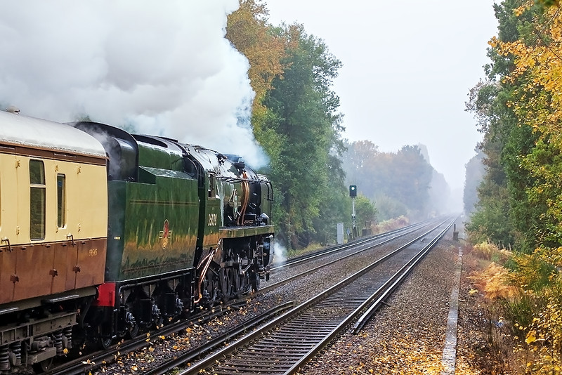 23th Oct 12:  The days Orient Express journeyed to Bristol from Victoria behind 35028 Clan Line.  Captured here  leaving Martins Heron as a 458 Juniper was completely blocking the view in the other direction.  Some you win and some....!
