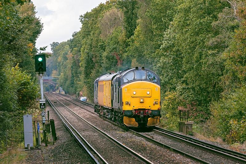 18th Oct 12:  Hurrying through Martins Heron are 37682 TnT 37688 on 1Q14 back from Reading
