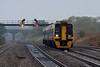 24th Oct 12:  Showing 'Not in ervice' 158961 climbs away from the Severn Tunnel towards Pilning