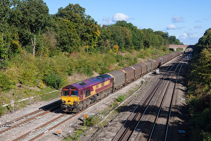 14th Oct 12:  66168 on the 09.00 from Dollands Moor to Margam steel carriers, 6V13, is about 1 Hour down as it runs through Twyford