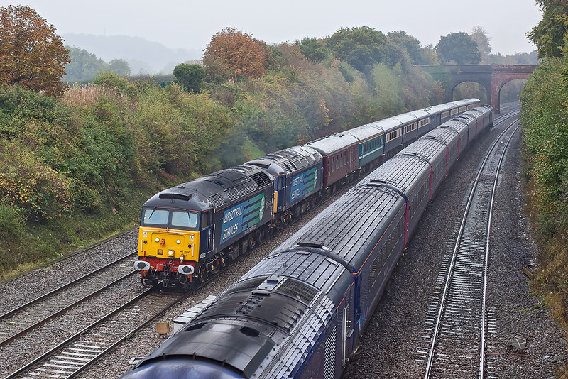 19th Oct 12: The ECS (5Z86) for a Trade Union organised  trip to the Capital on the 20th October with 47802 & 47818 at the sharp end passes an HST at Westbury Lane in Rurley on Thames